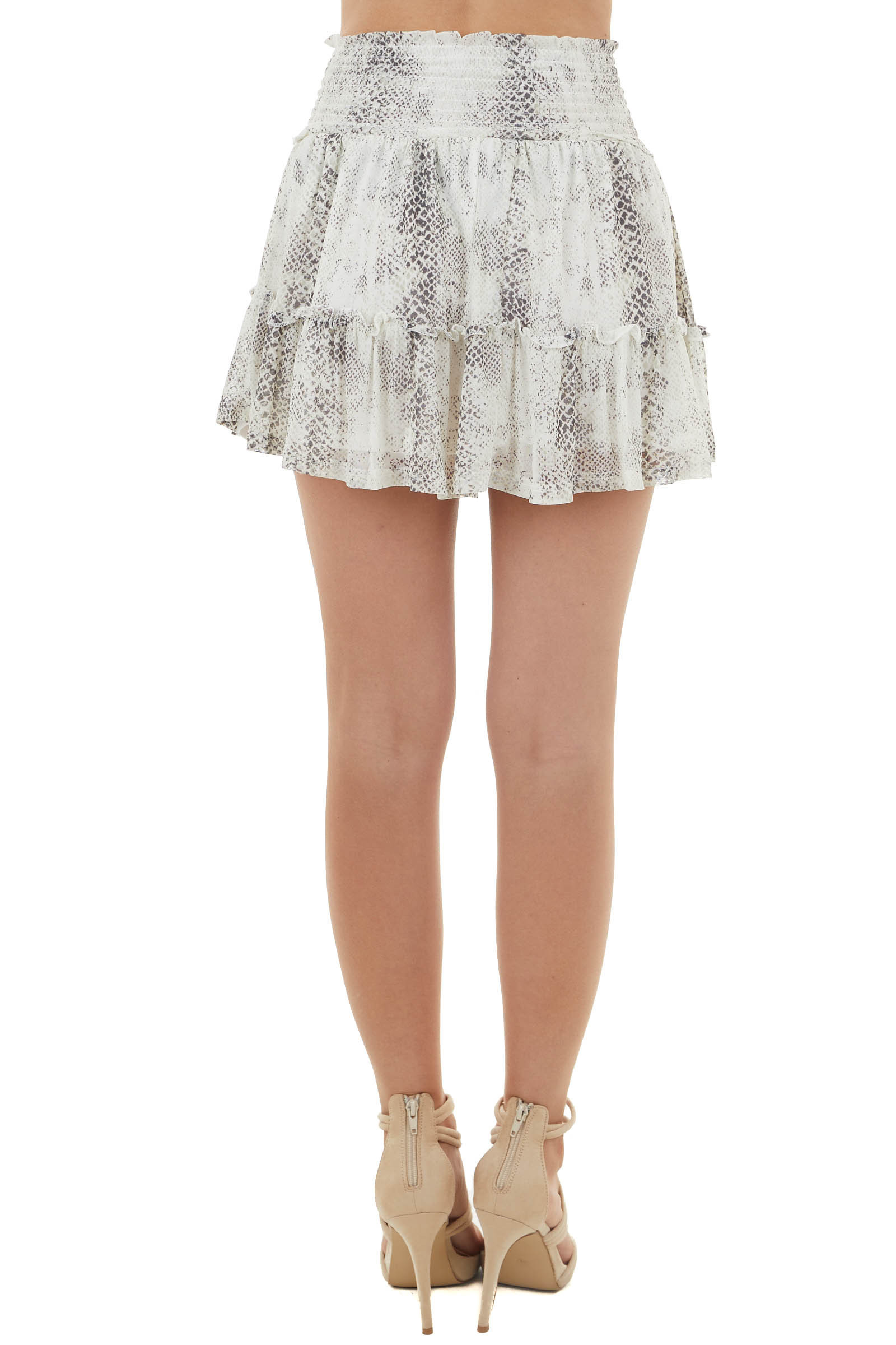 Champagne and Charcoal Snake Print Tiered Mini Skirt