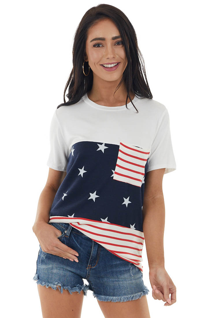 Ivory Star and Stripe Print Short Sleeve Top with Pocket