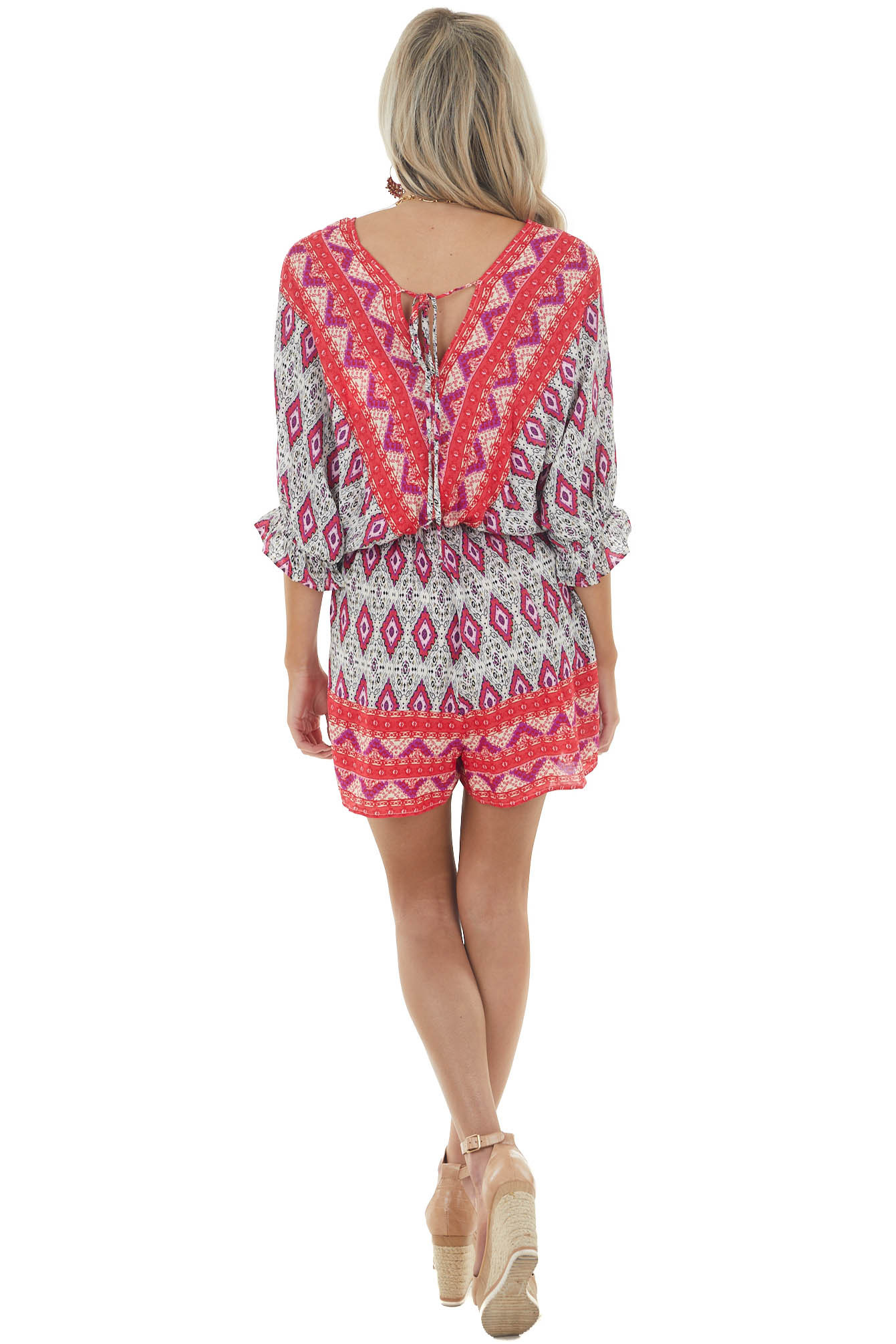 Crimson Red Printed Dolman Sleeve Romper with Keyhole Detail