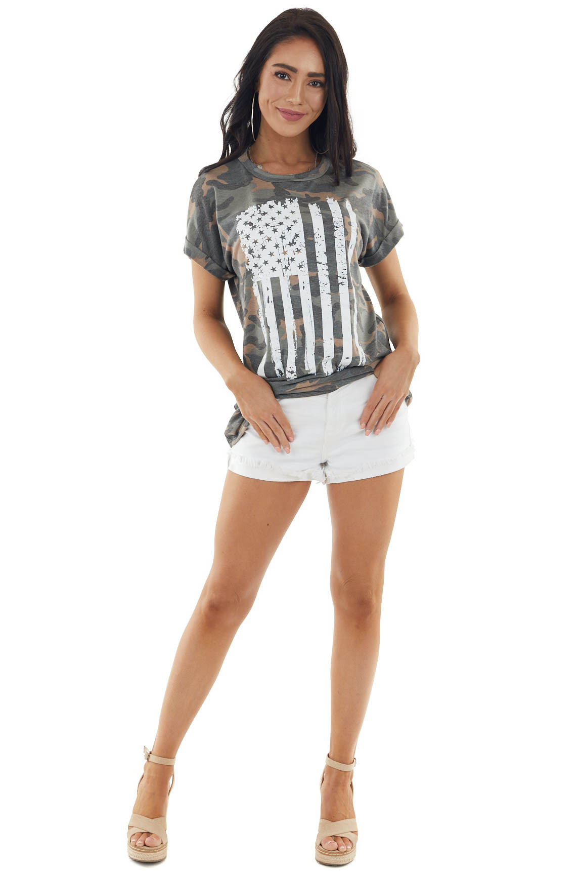 Ash and Charcoal Camo Print Top with American Flag Graphic
