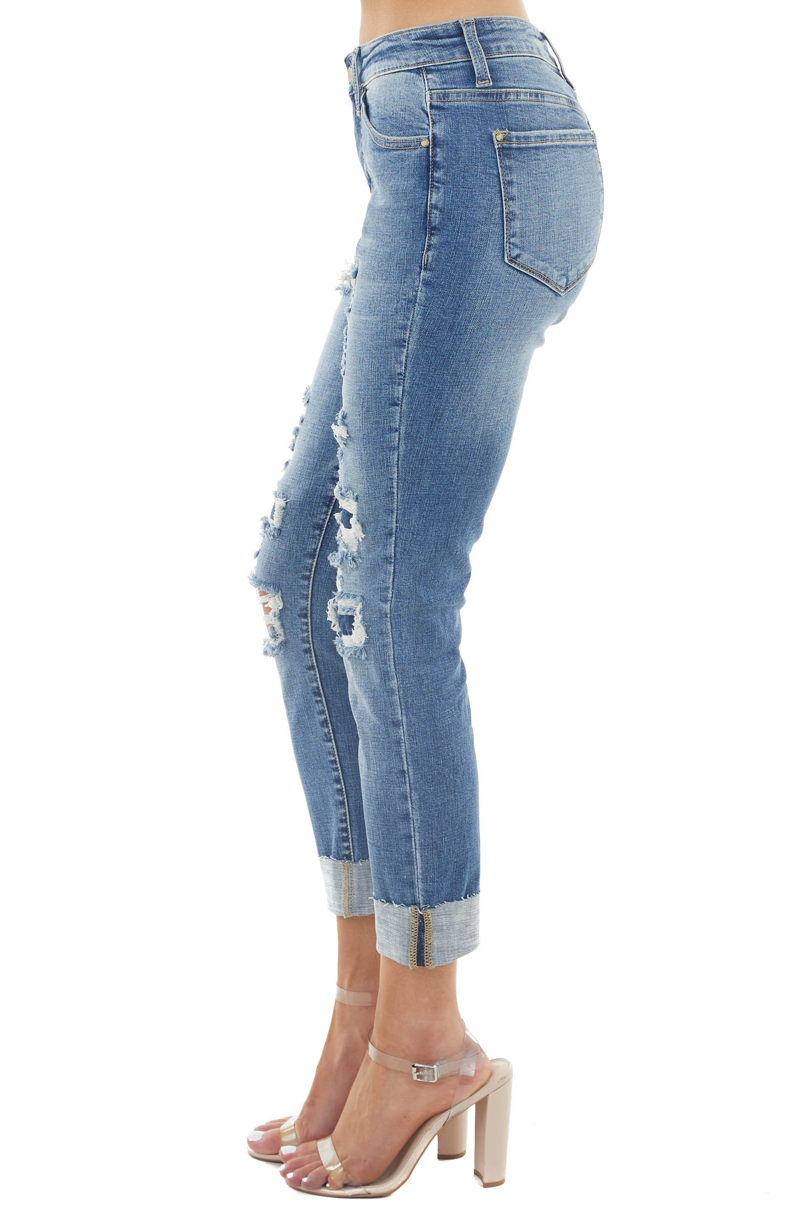 Medium Wash Mid Rise Relaxed Fit Jeans with Distressing