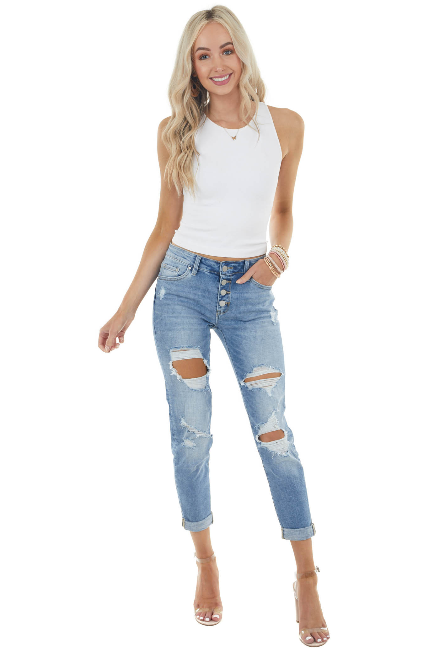 Medium Wash Mid Rise Relaxed Fitted Distressed Denim Jeans