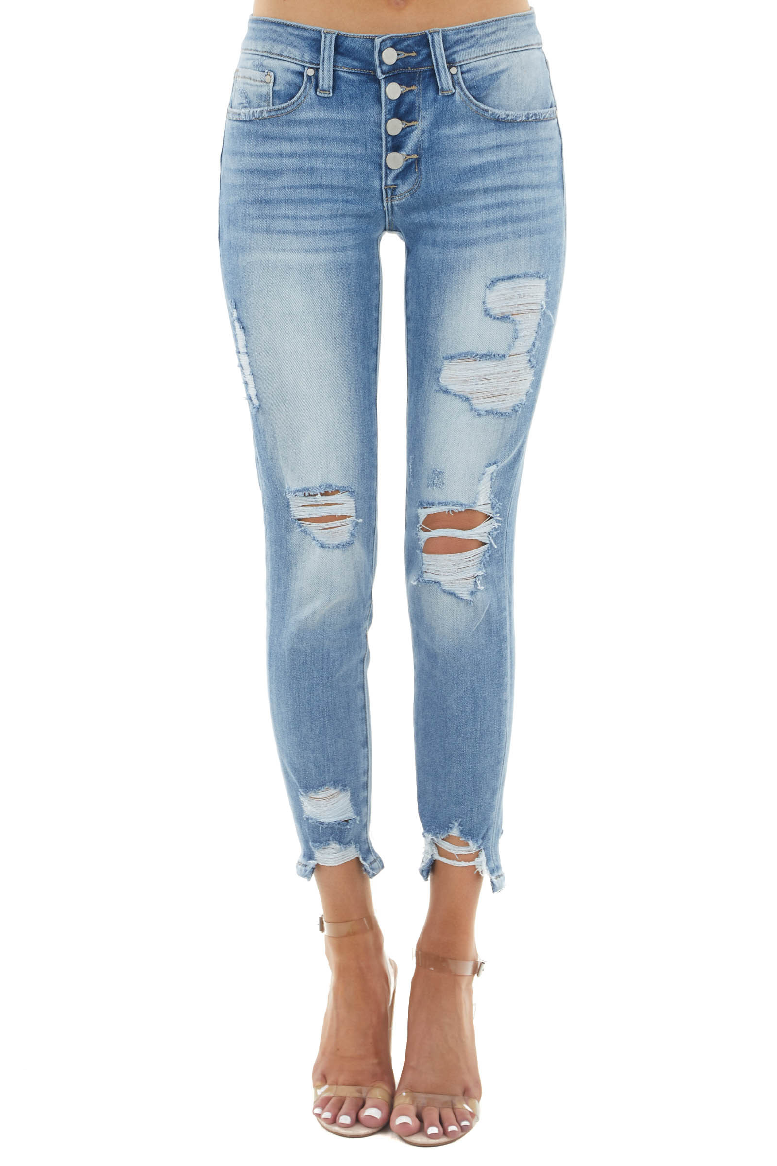 Light Wash Mid Rise Distressed Skinny Jeans with Buttons