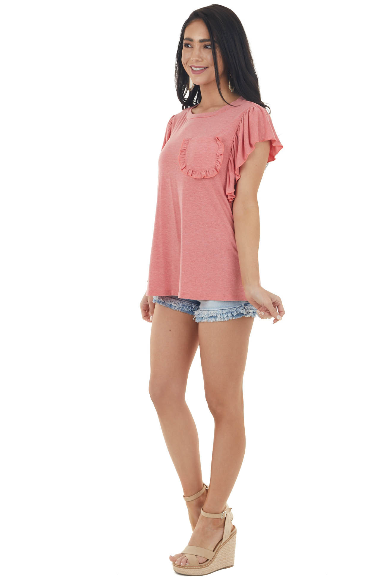 Coral Pink Short Ruffled Sleeve Knit Top with Ruffled Pocket