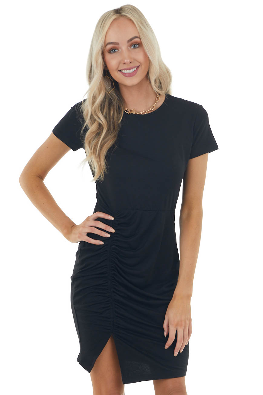 Black Short Sleeve Bodycon Side Ruched Dress with Side Slit