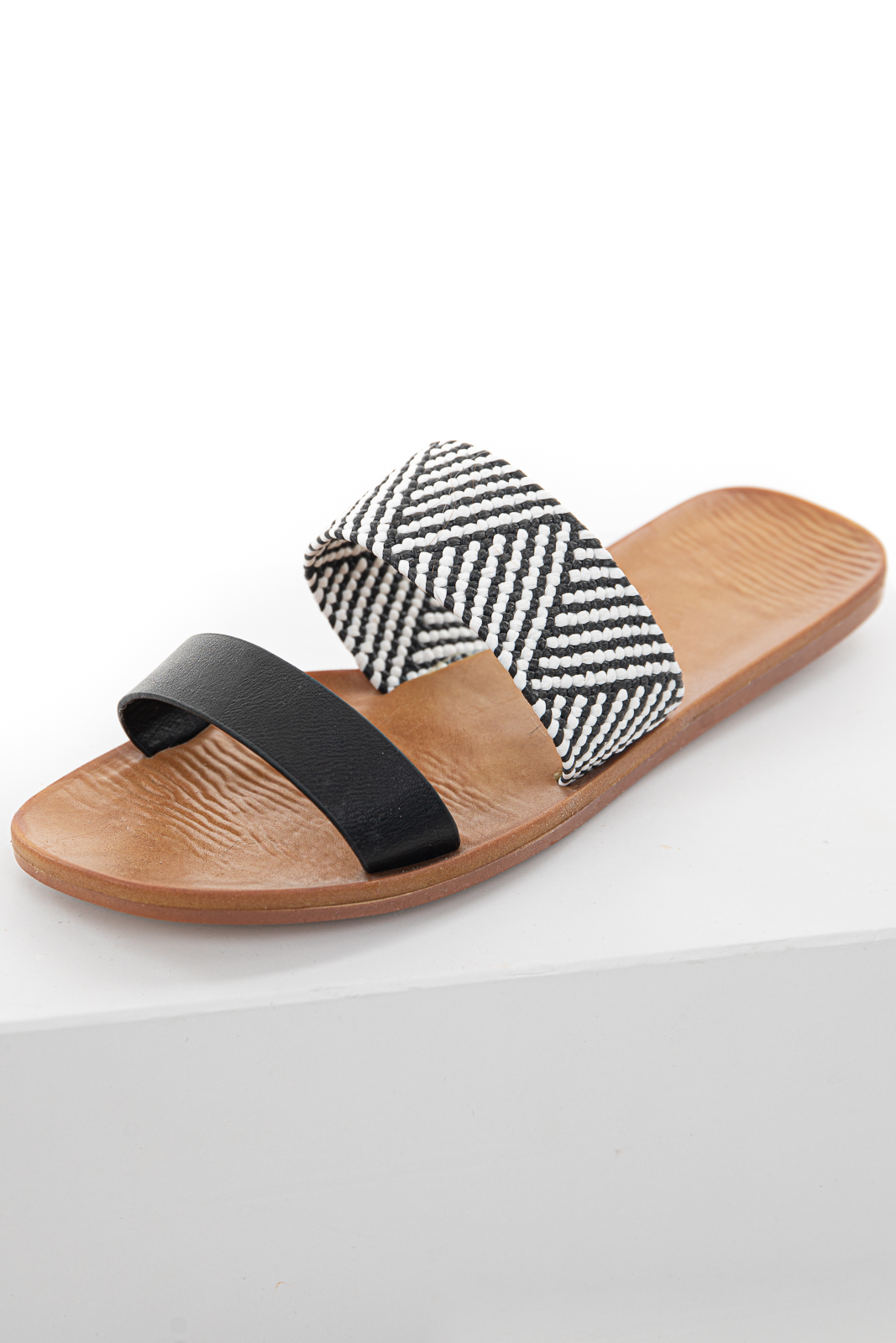 Black and Pearl Open Toe Sandal with Woven Strap Detail