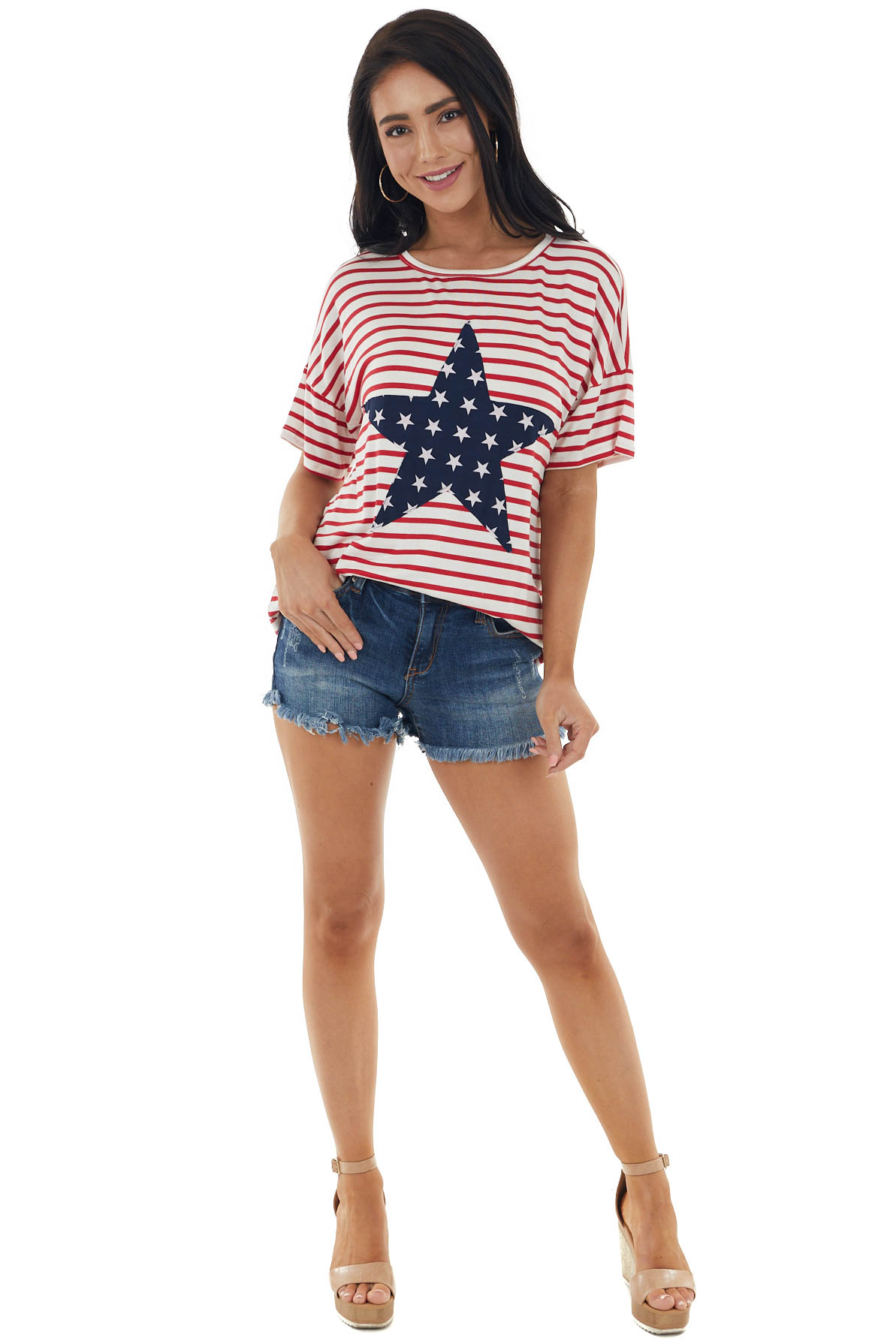 Ivory and Candy Apple Red Stripes Top with Star Print Detail