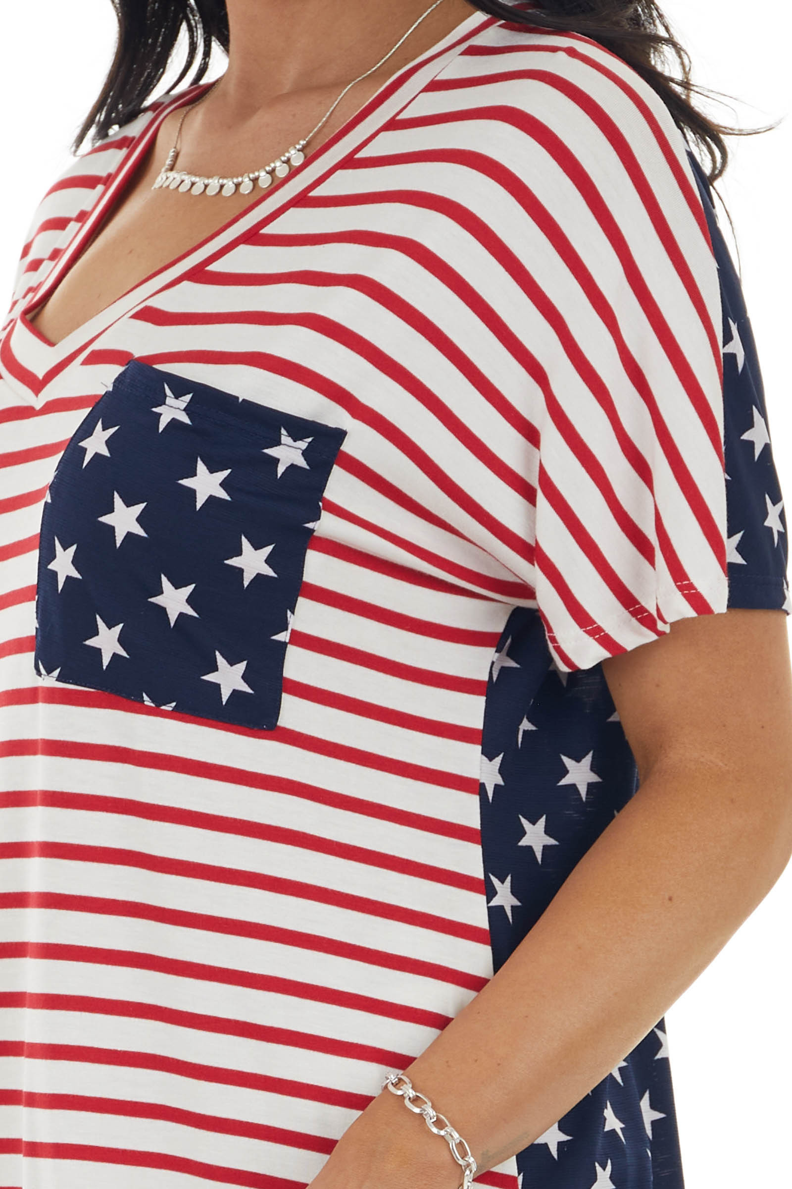 Navy Stars and Stripes Printed Knit Tee with Front Pocket