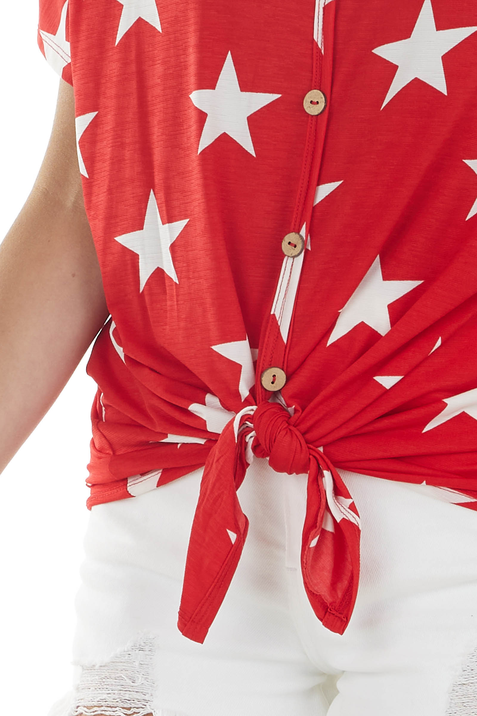 Lipstick Red Star Print Button Front Top with Front Tie
