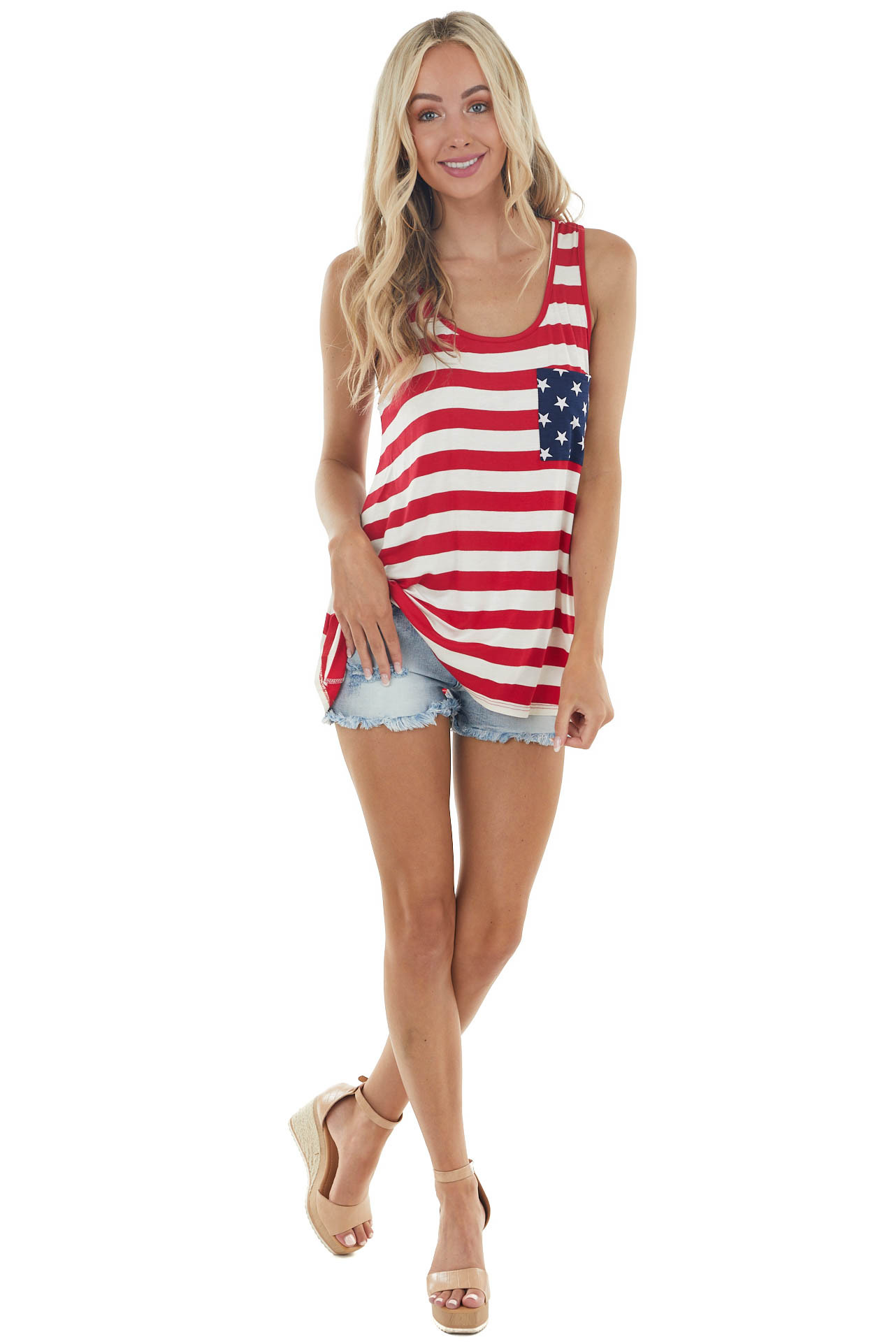 Ruby and Ivory American Flag Tank Top with Back Bow Detail