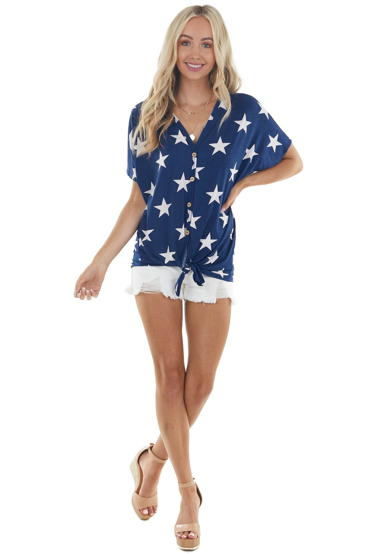 Navy Blue Star Print Button Front Top with Front Tie