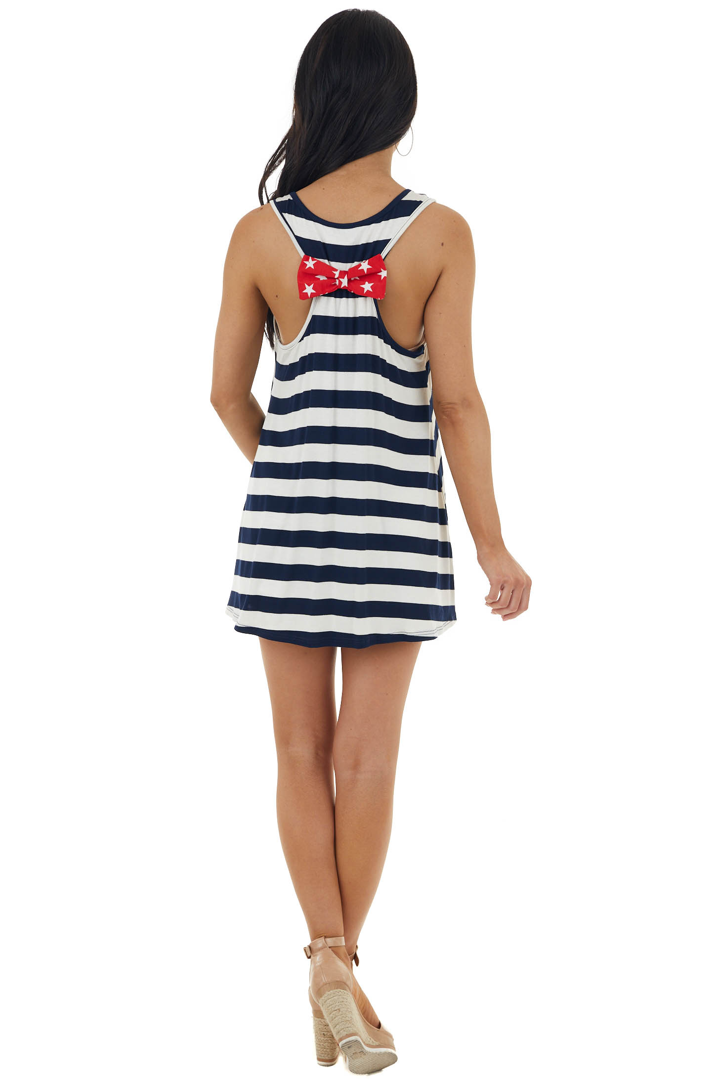 Navy and Ivory American Flag Tank Top with Back Bow Detail