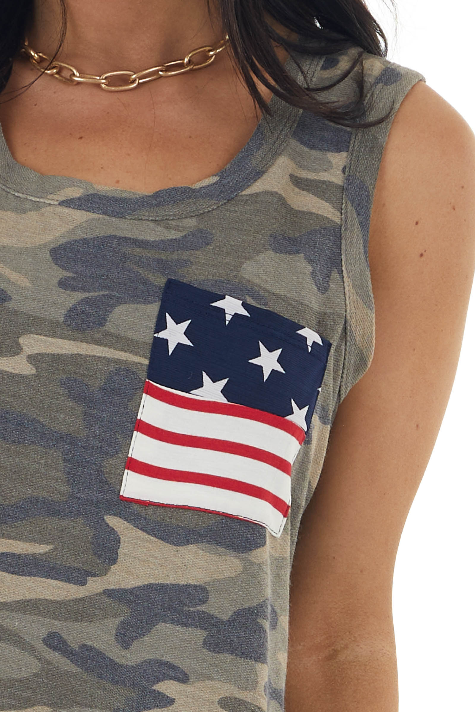 Dusty Olive Camo Print Tank Top with Printed Front Pocket