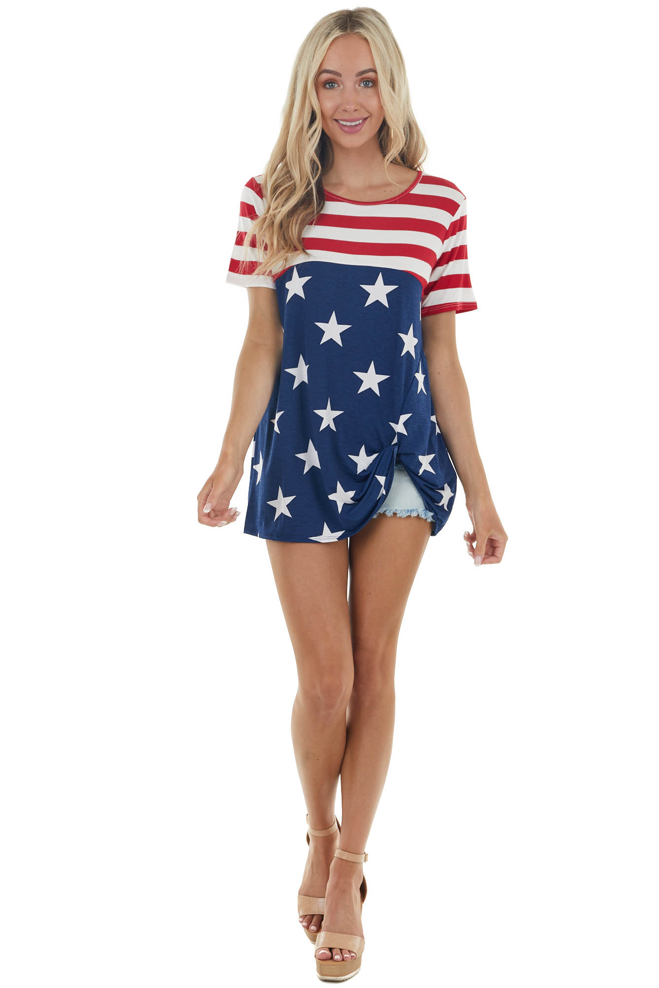 Navy American Flag Print Short Sleeve Knit Top with Twist Front