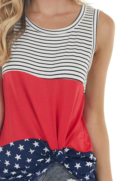 Crimson Red Colorblock Sleeveless Top with Stars and Stripes