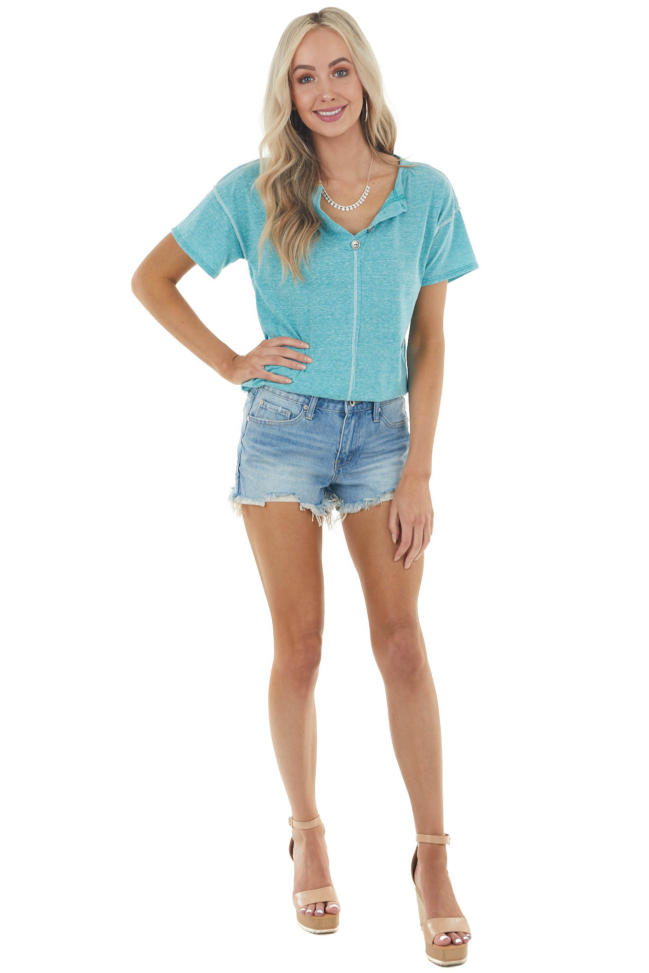 Teal Short Sleeve V Neck Top with Button Detail