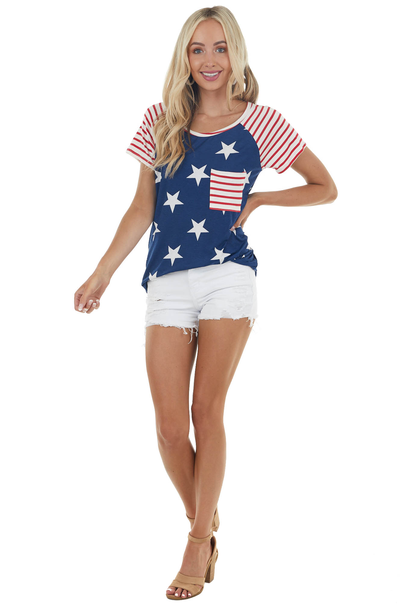 Navy American Flag Print Short Sleeve Knit Top with Pocket
