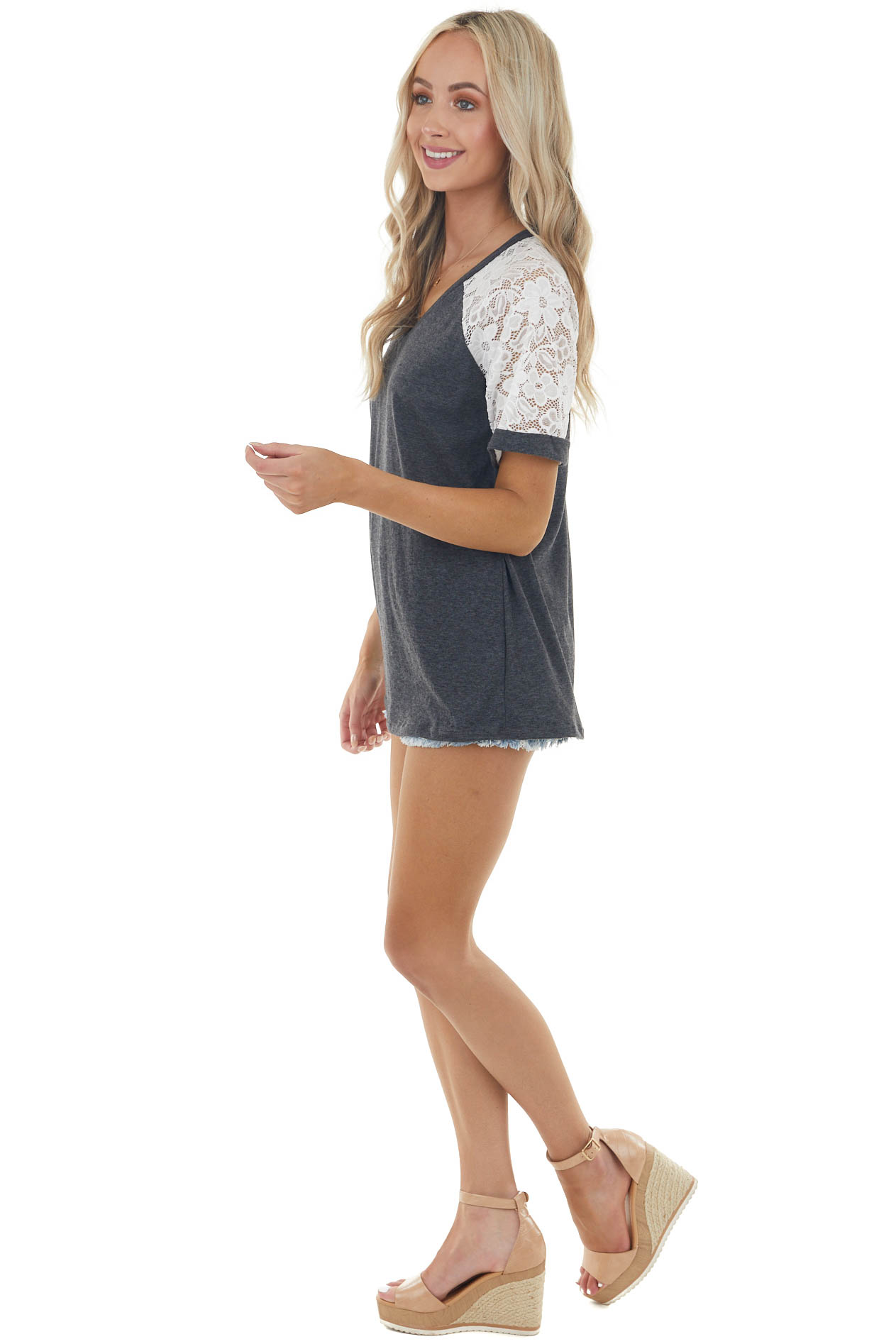 Heathered Charcoal V Neck Tee with Crochet Lace Short Sleeve