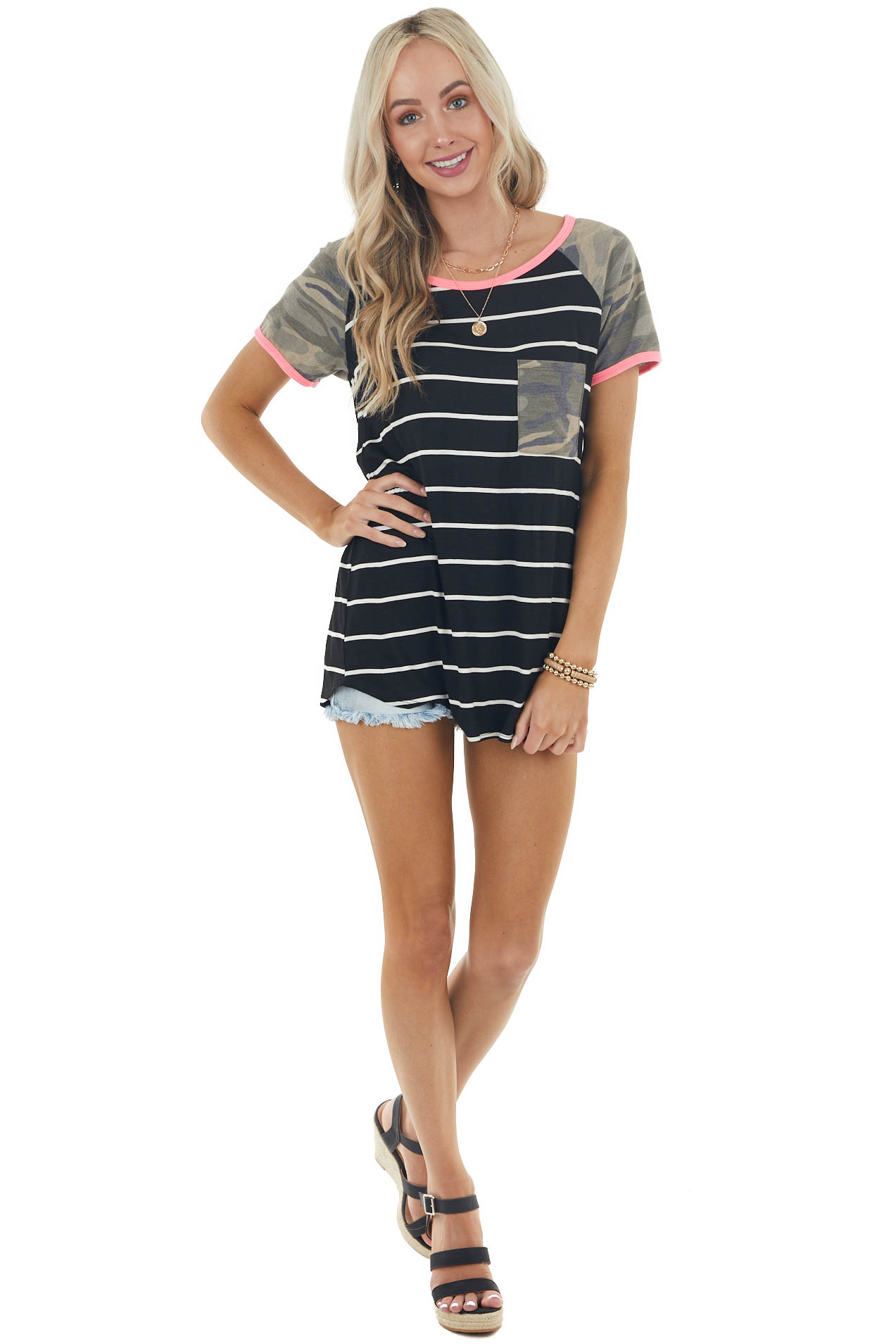 Black and Ivory Striped Knit Top with Camo and Neon Details