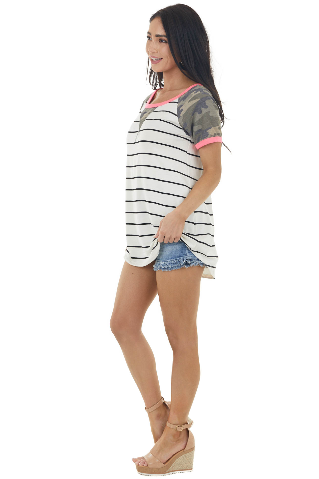Ivory and Black Striped Top with Camo and Neon Details