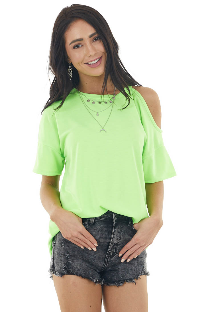 Neon Lime Short Sleeve Cold Shoulder Stretchy Knit Top