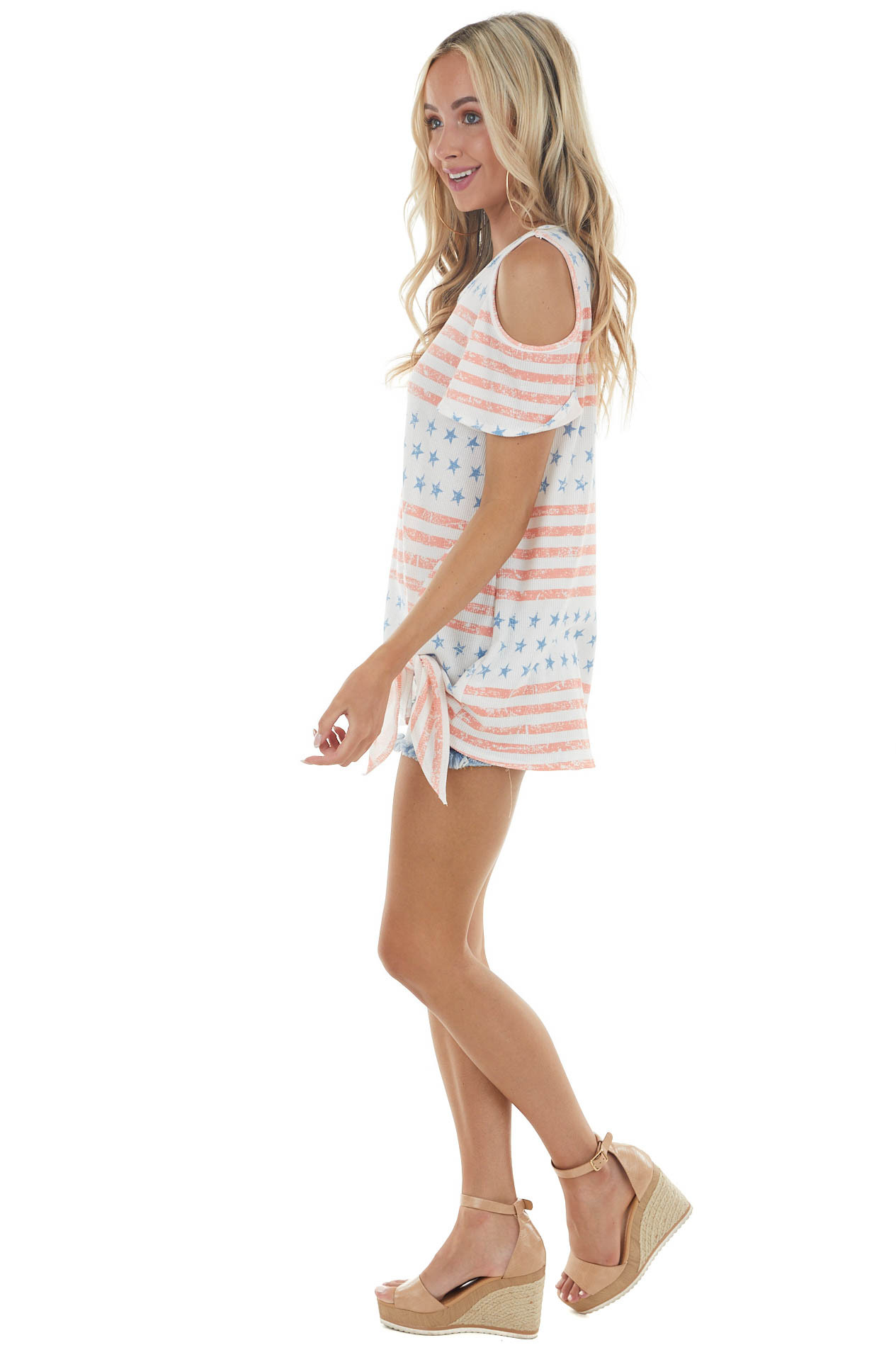 Ivory American Flag Print Cold Shoulder Top with Front Tie