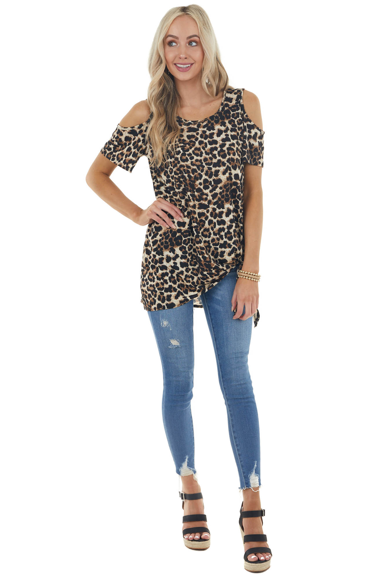 Beige Leopard Print Cold Shoulder Top with Front Tie