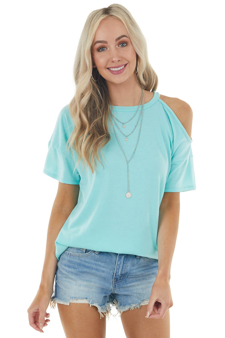 Turquoise Short Sleeve Cold Shoulder Stretchy Knit Top