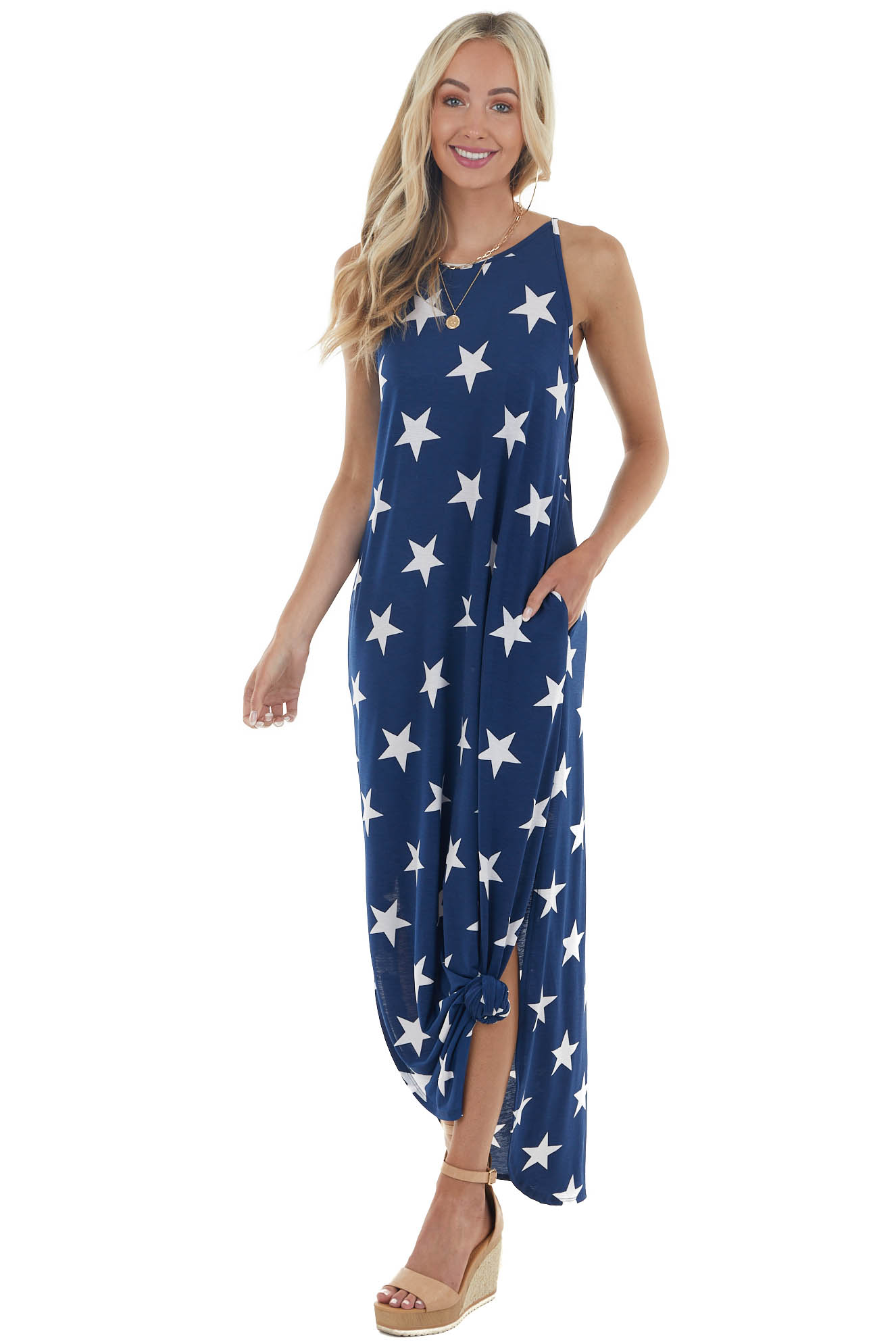 Navy Blue Star Print Sleeveless Maxi Dress with Side Slits