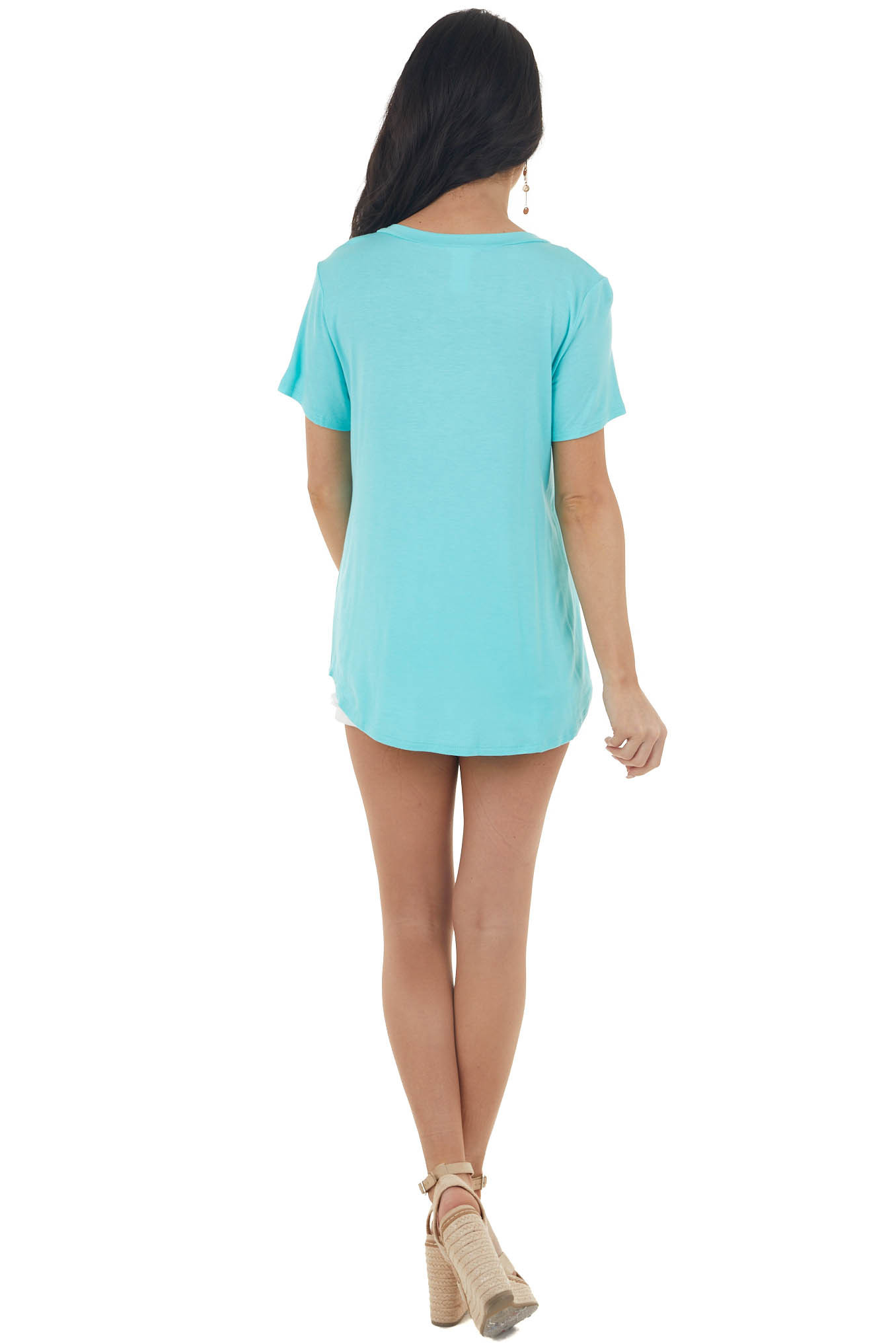 Aqua Short Sleeve Top with Sequin and Criss Cross Detail