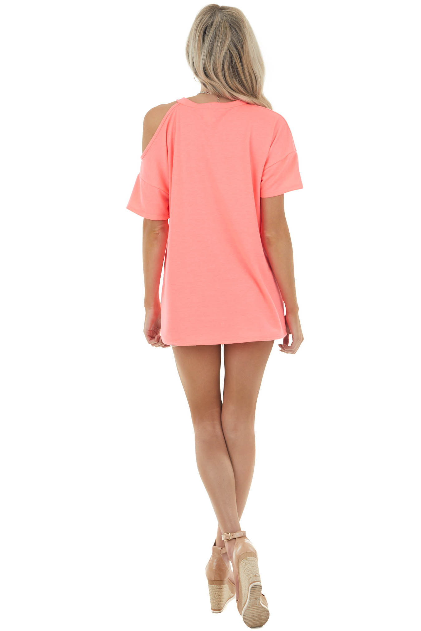 Neon Coral Short Sleeve Cold Shoulder Stretchy Knit Top