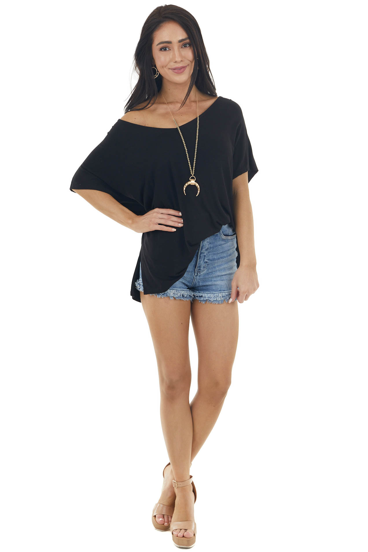 Black Short Sleeve Knit Top with Back Criss Cross Details