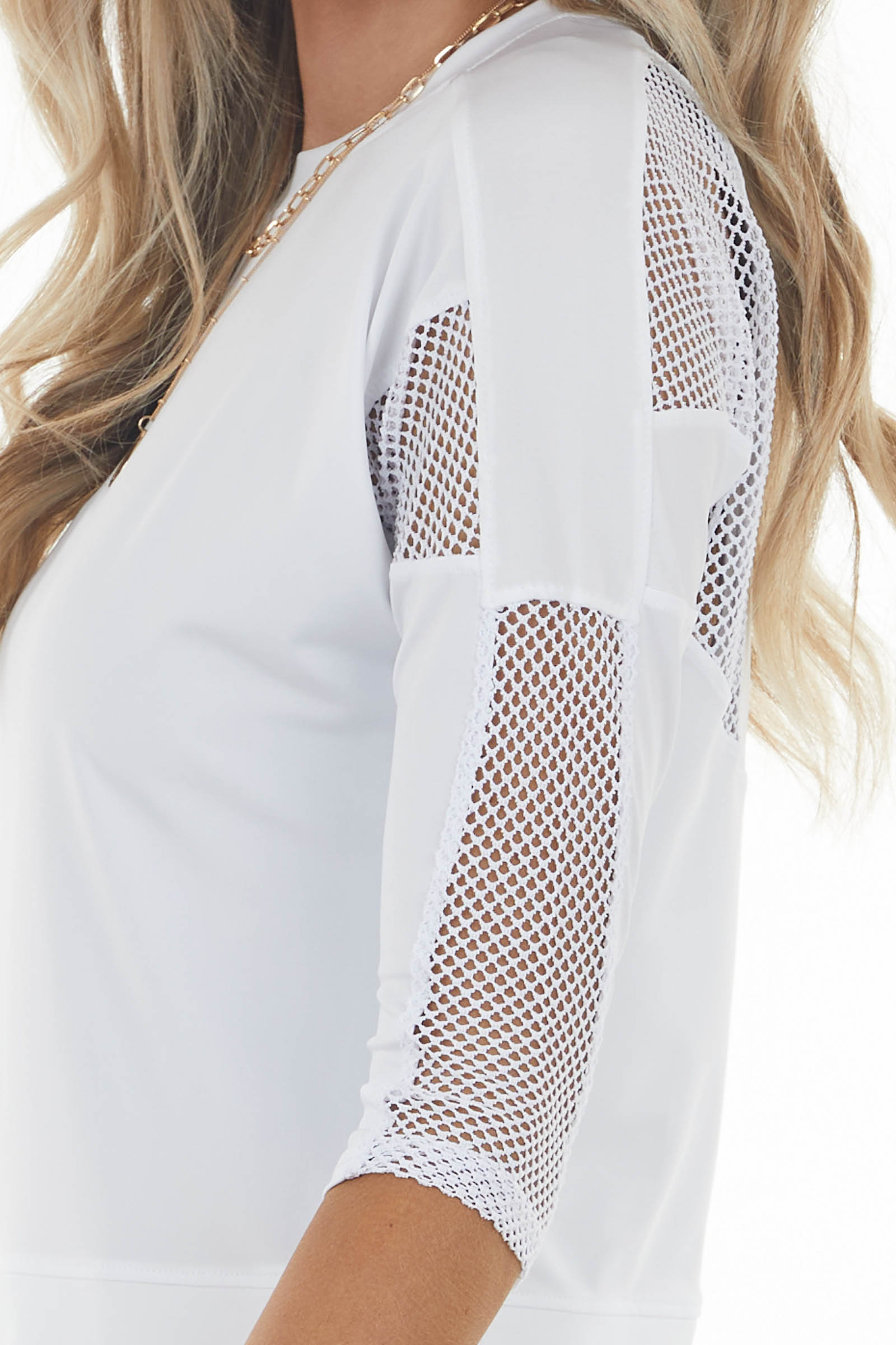 White Stretchy Knit Top with Mesh Details and Back Cut Out
