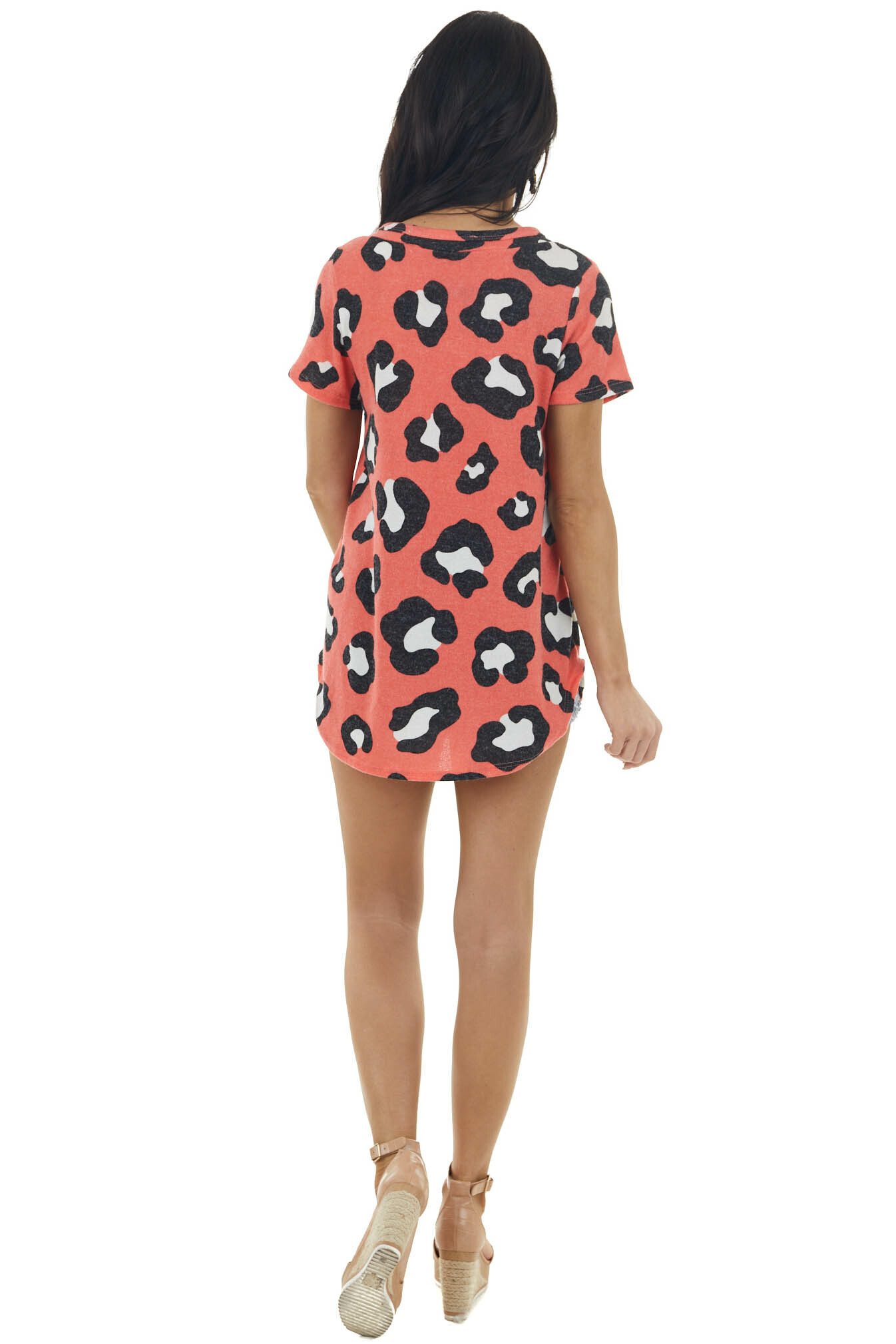 Bright Coral Leopard Print Short Sleeve Knit Top with V Neck