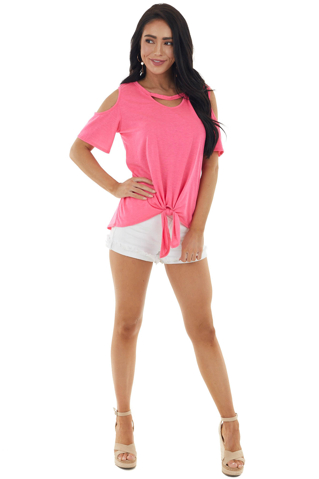 Neon Pink Short Sleeve Knit Top with Front Tie Detail