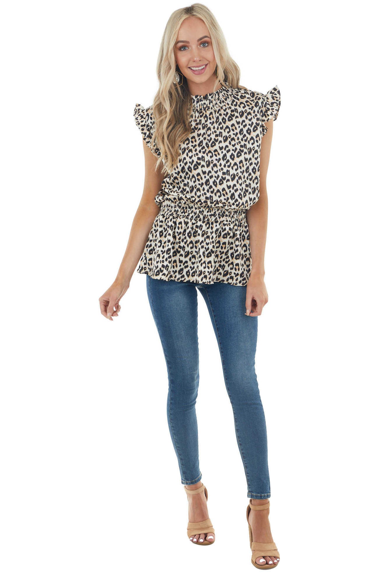 Cream and Black Leopard Print Blouse with Smocked Details