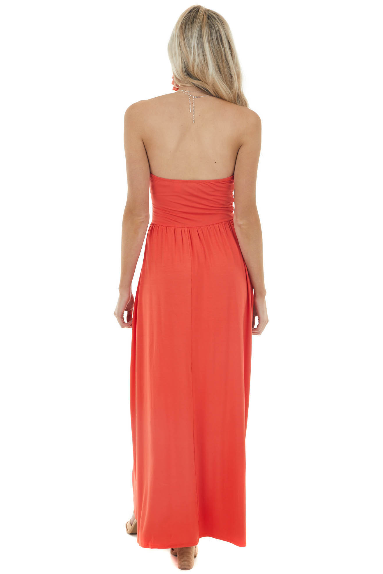 Fire Orange Strapless Maxi Dress with Ruching Details