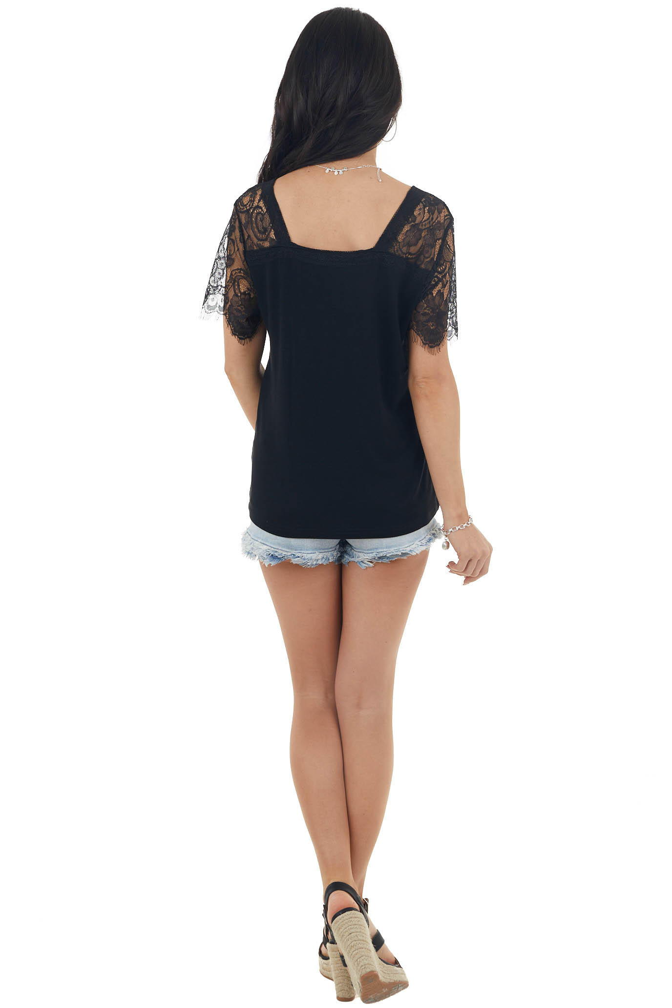 Black Short Sleeve Knit Top with Lace Details