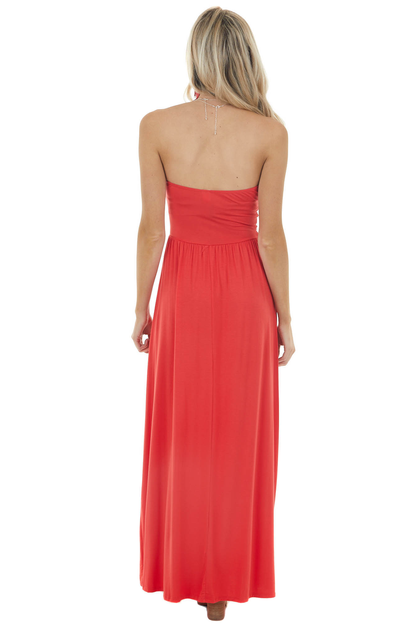 Crimson Red Strapless Maxi Dress with Ruching Details