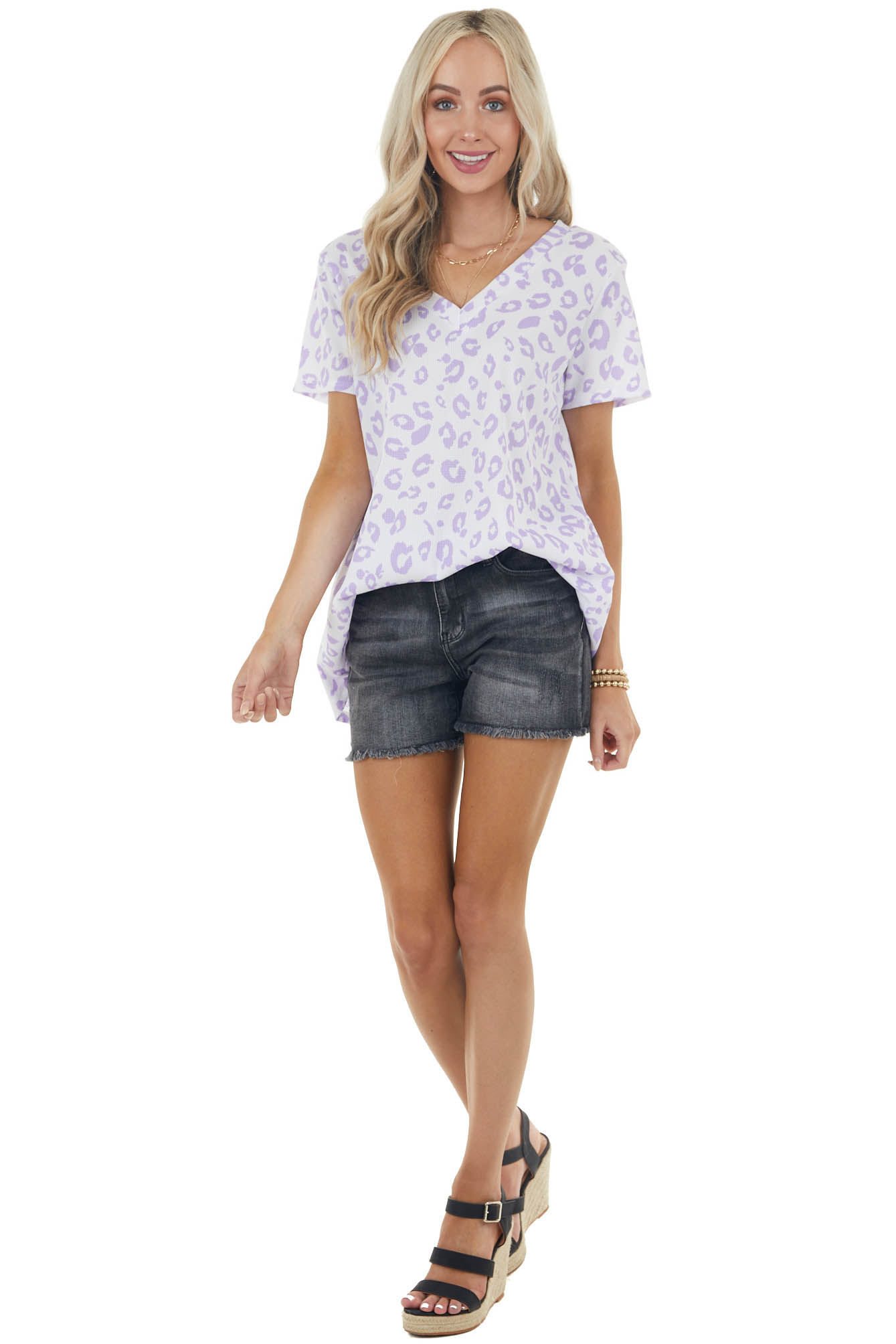 Iris and Off White Leopard Print Short Sleeve Knit Top