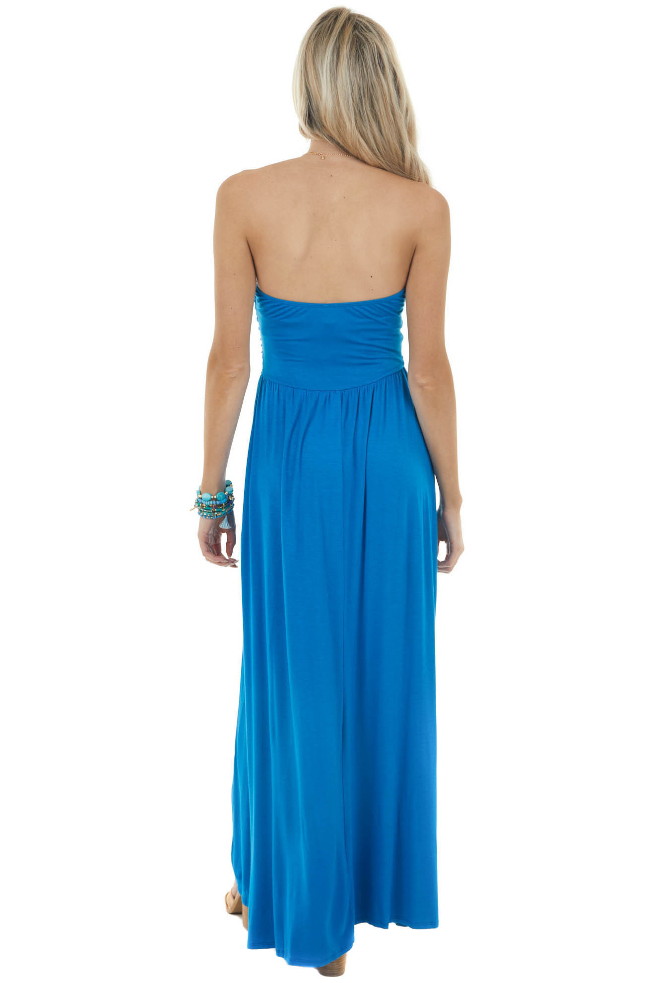 Royal Blue Strapless Maxi Dress with Ruching Details