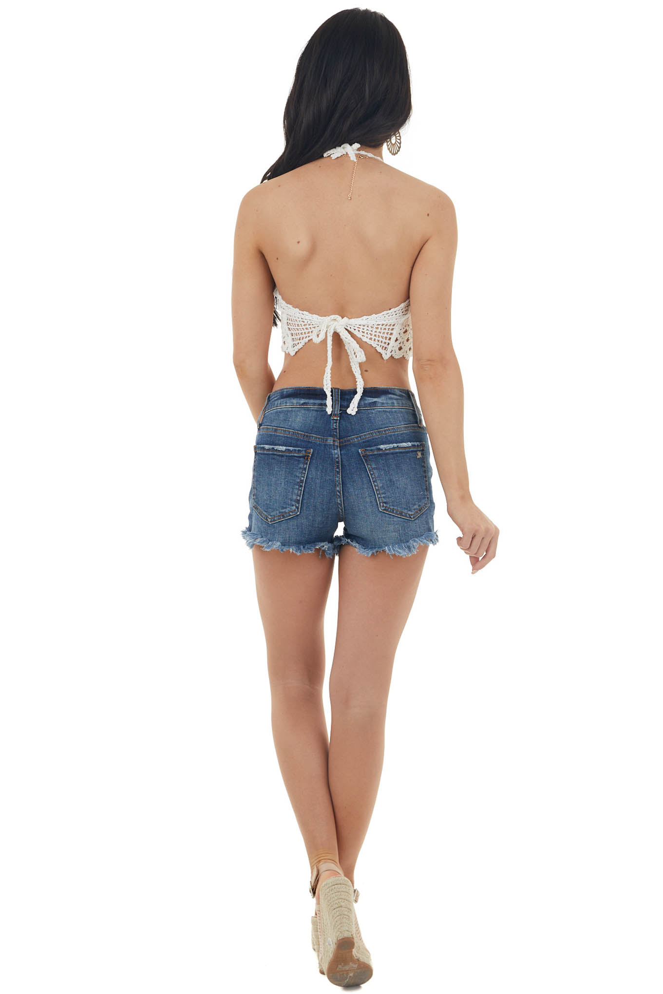 Off White Crocheted Bralette with Neck and Back Ties