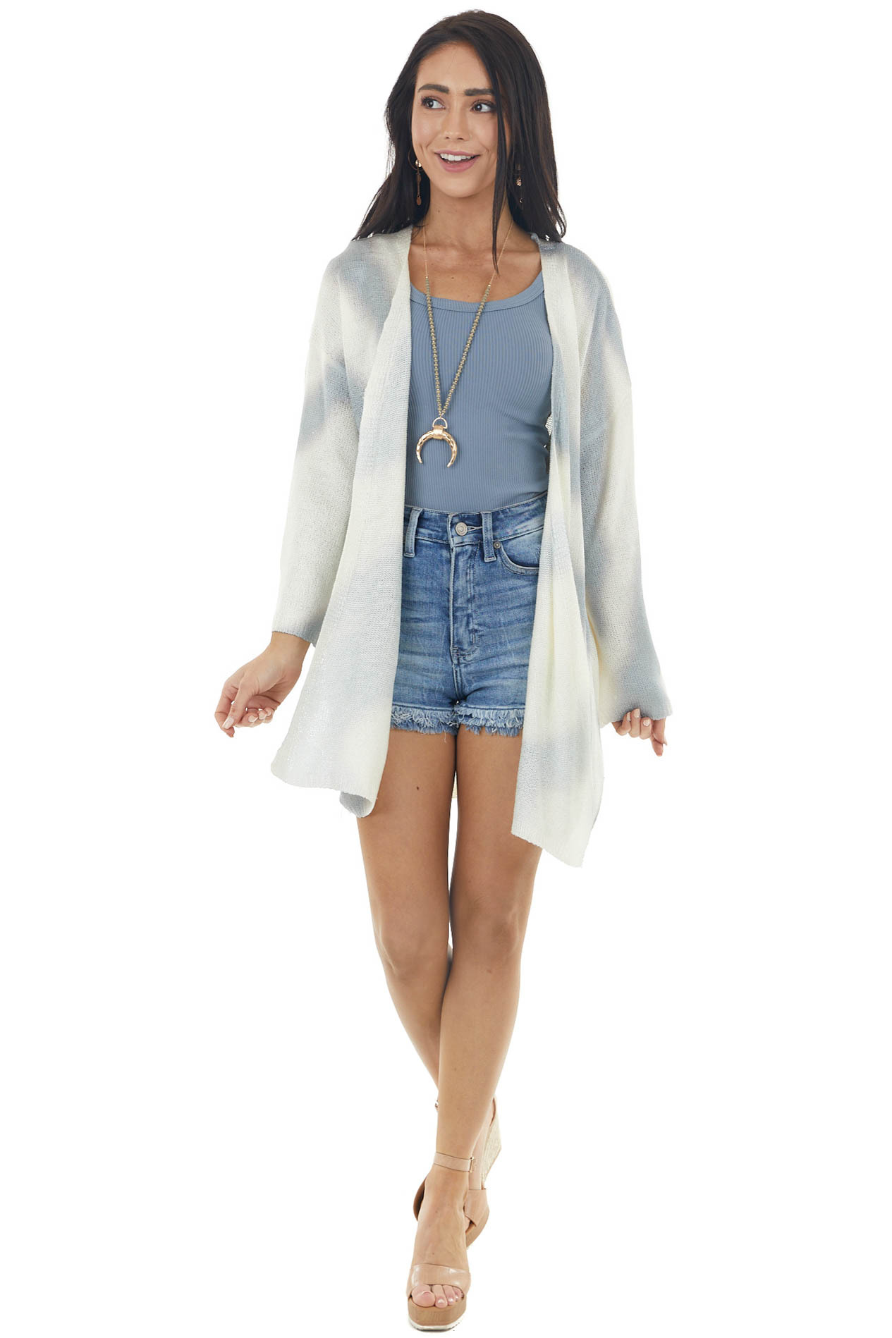 Cream and Pastel Blue Striped Tie Dye Open Front Cardigan