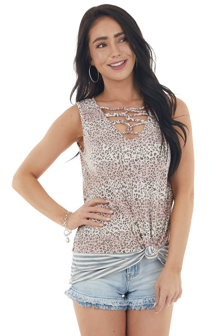 Dusty Blush Leopard Print Sleeveless Top with Striped Detail