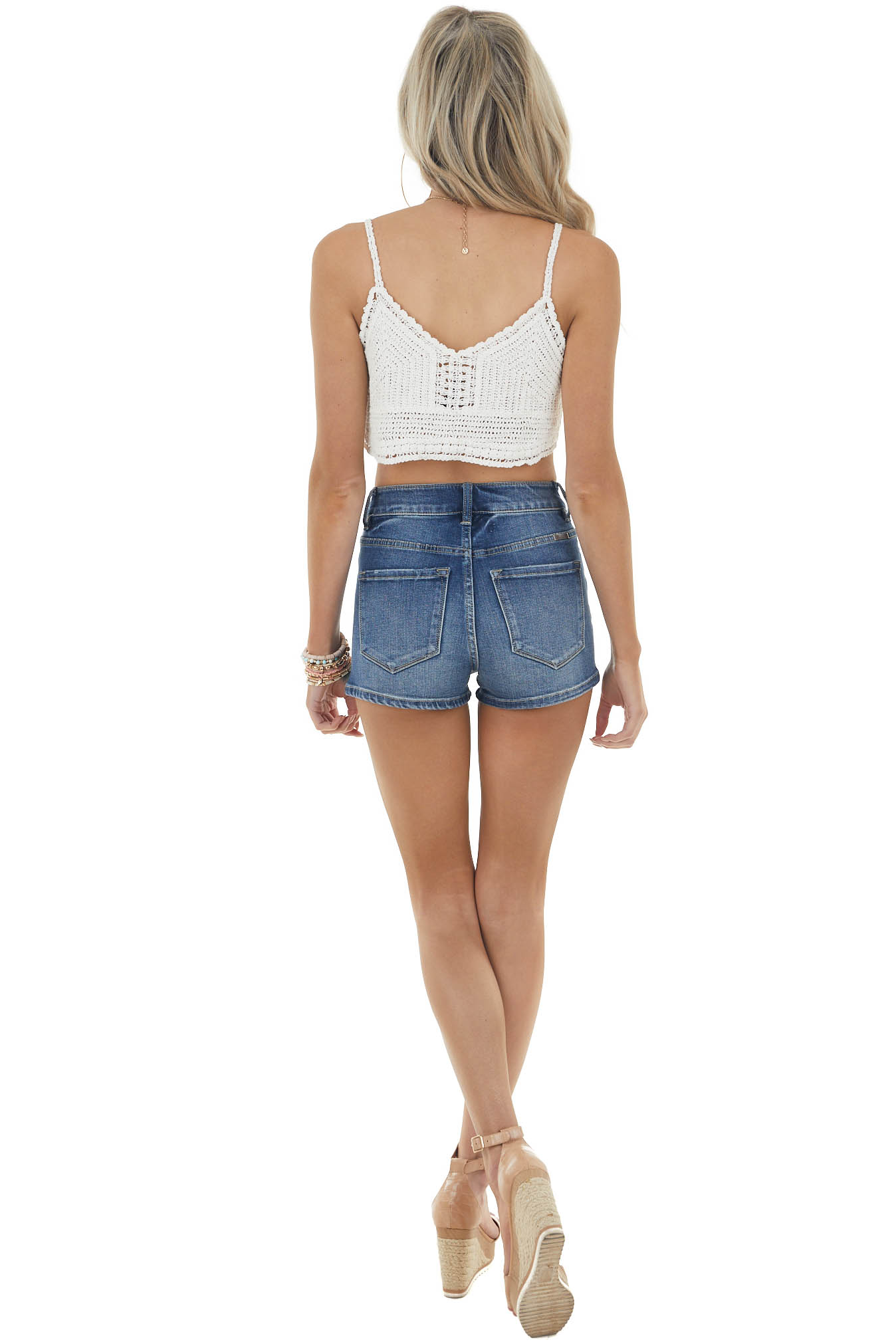 Off White Crocheted Cropped Tank with Scalloped Details