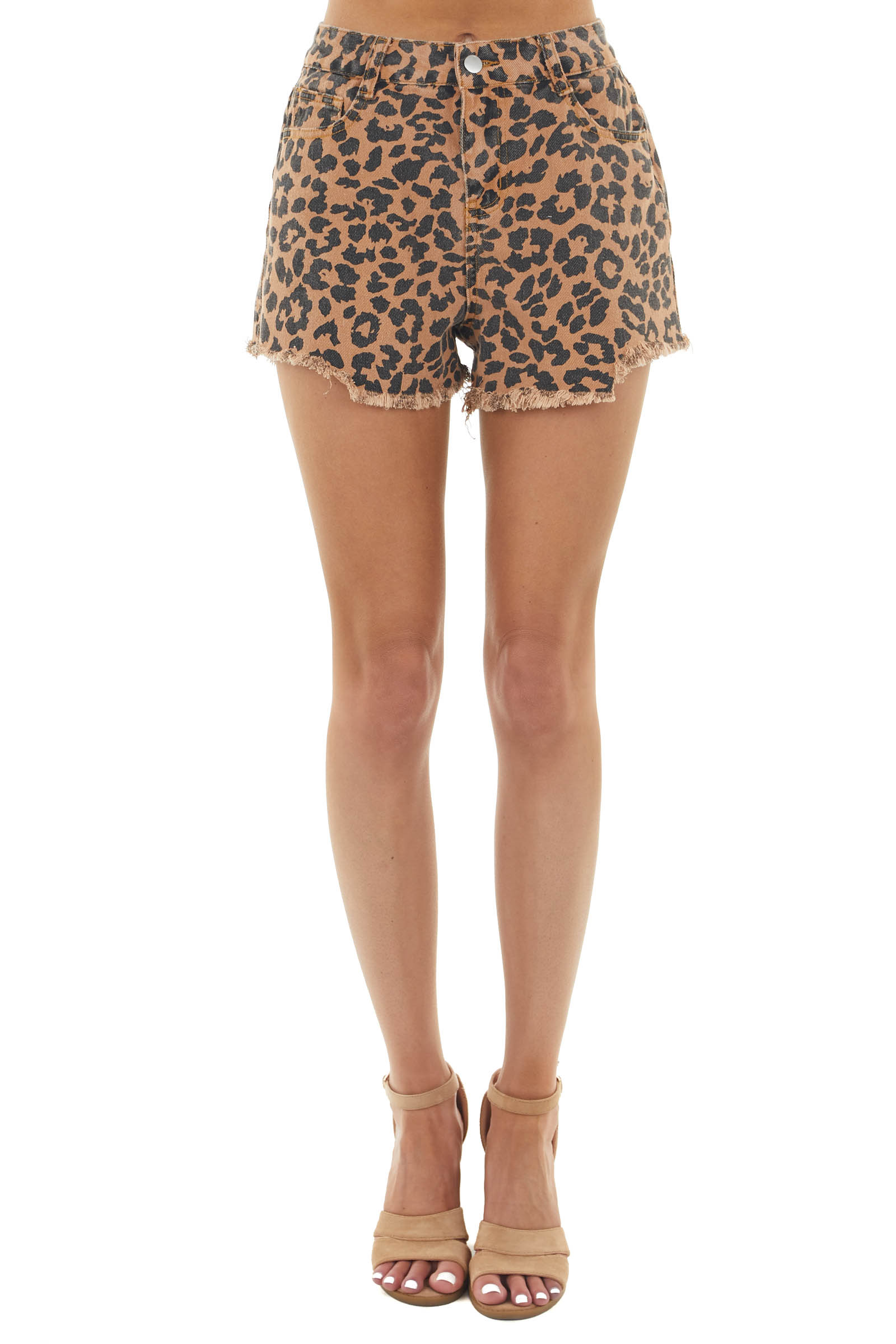Caramel and Charcoal Leopard Print Shorts with Frayed Hem