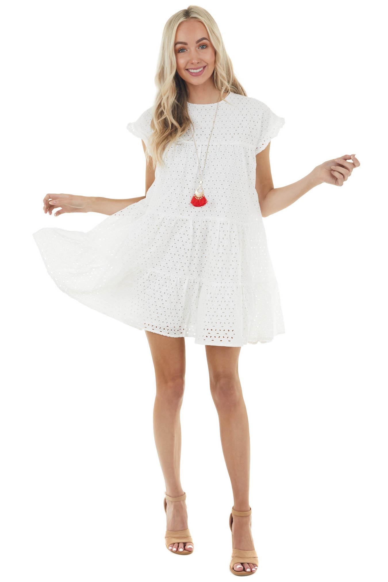 Off White Eyelet Woven Short Dress with Ruffle Sleeves