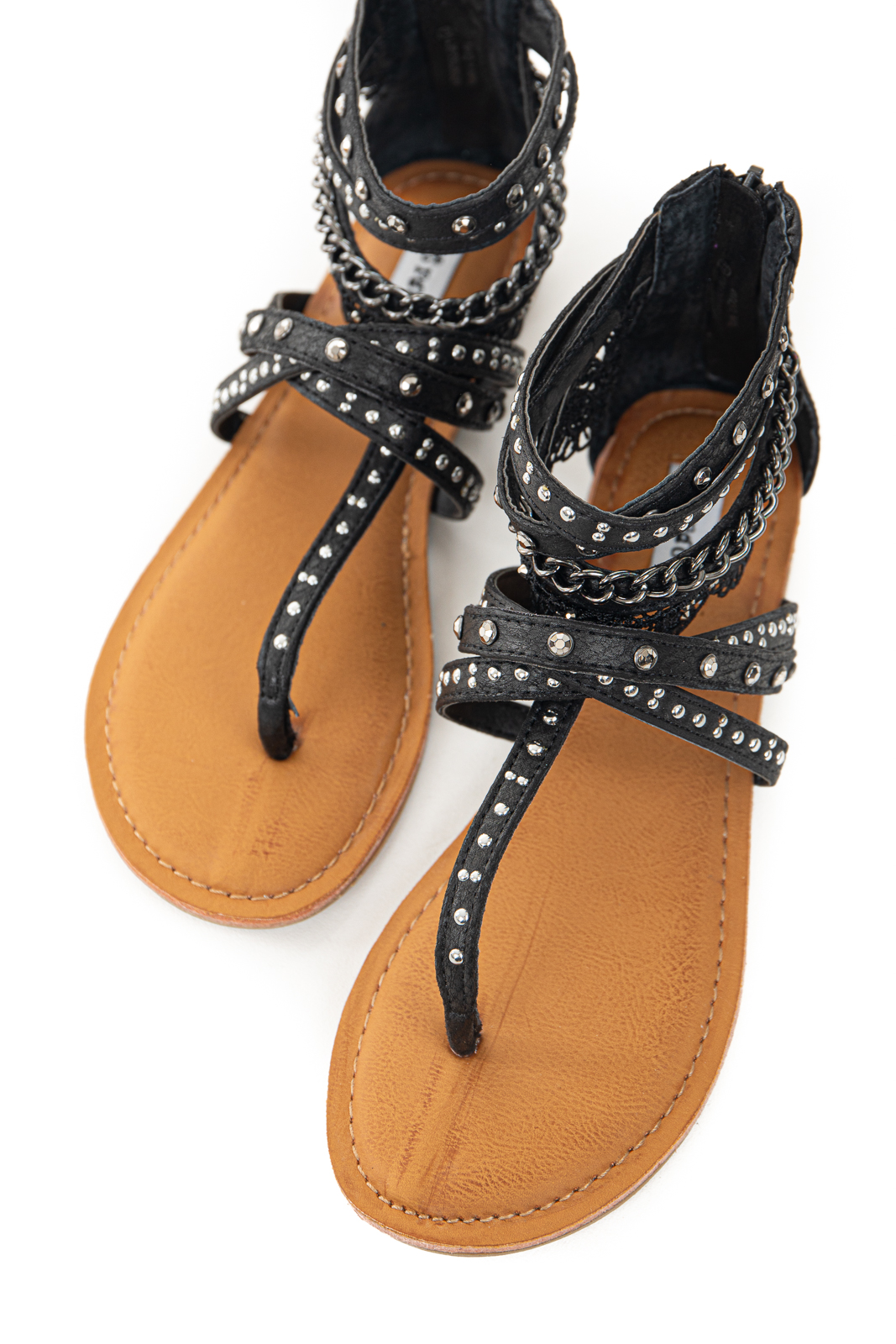 Black Strappy Sandals with Lace and Rhinestone Details