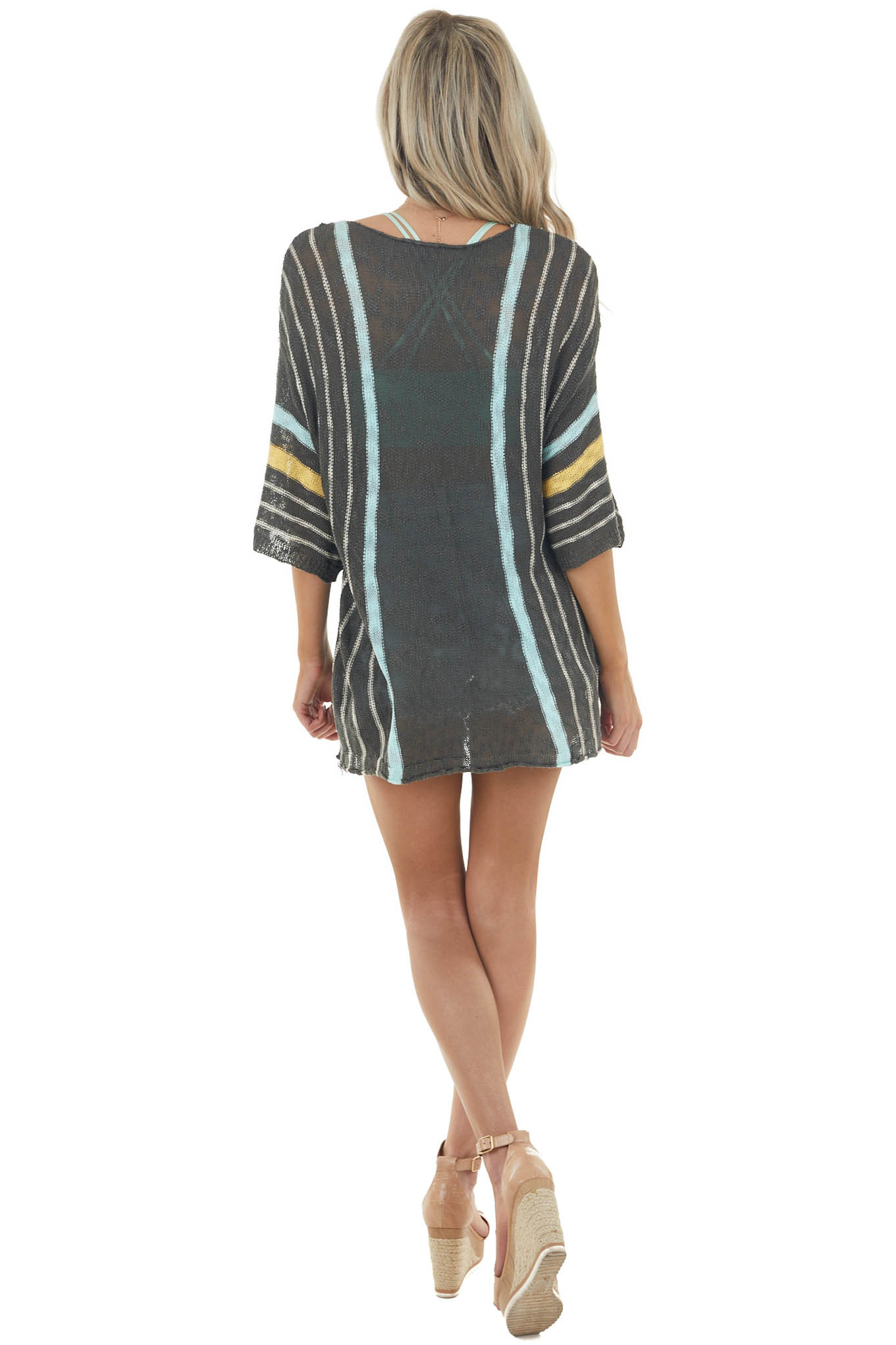 Graphite Striped Loose Fit Sweater with Half Length Sleeves