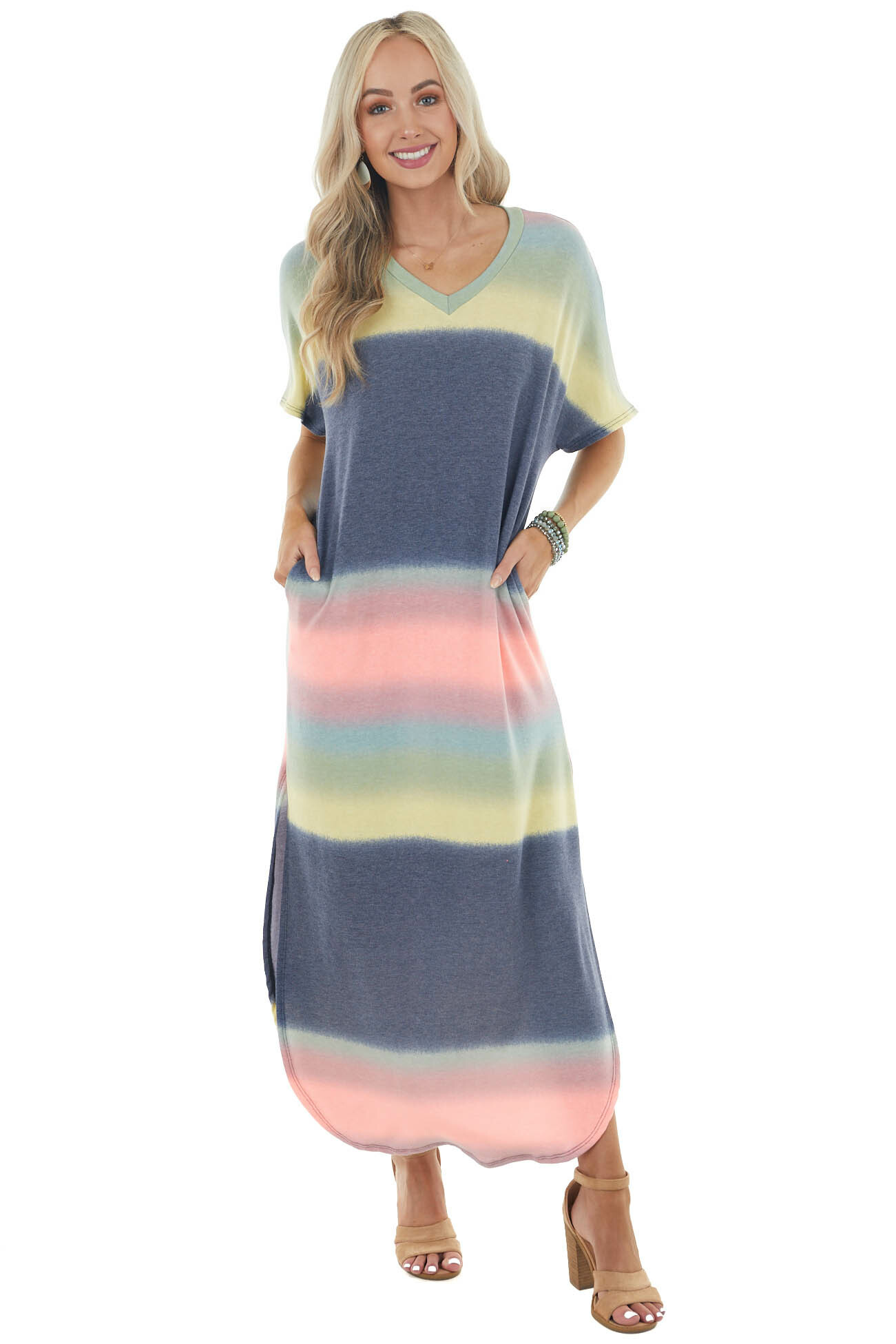 Navy Multicolored Ombre Short Sleeve Knit Maxi Dress